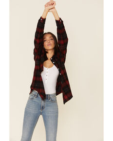 Ely Cattleman Women's Plaid Long Sleeve Western Flannel Shirt , Red, hi-res