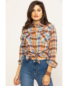 Wrangler Women's Blue Plaid Lurex Snap Long Sleeve Western Shirt, Blue, hi-res