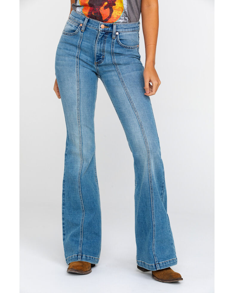 Wrangler Women's Heritage Seamed Light Flare Jeans , Blue, hi-res