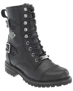 Harley Davidson Women's Balsa Moto Boots - Round Toe, Black, hi-res