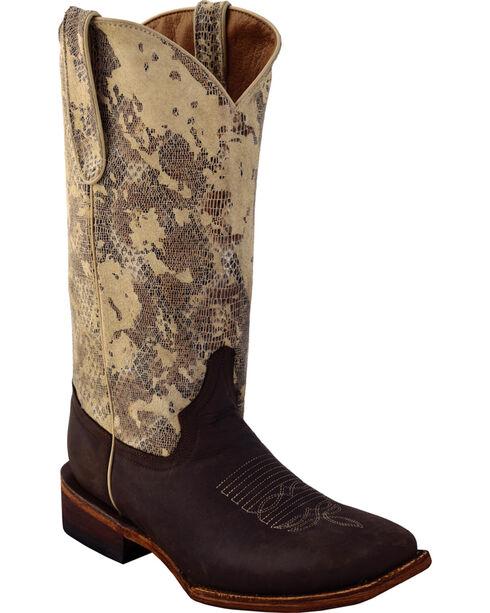 Ferrini Women's Sand Storm Cowgirl Boots - Square Toe, Chocolate, hi-res