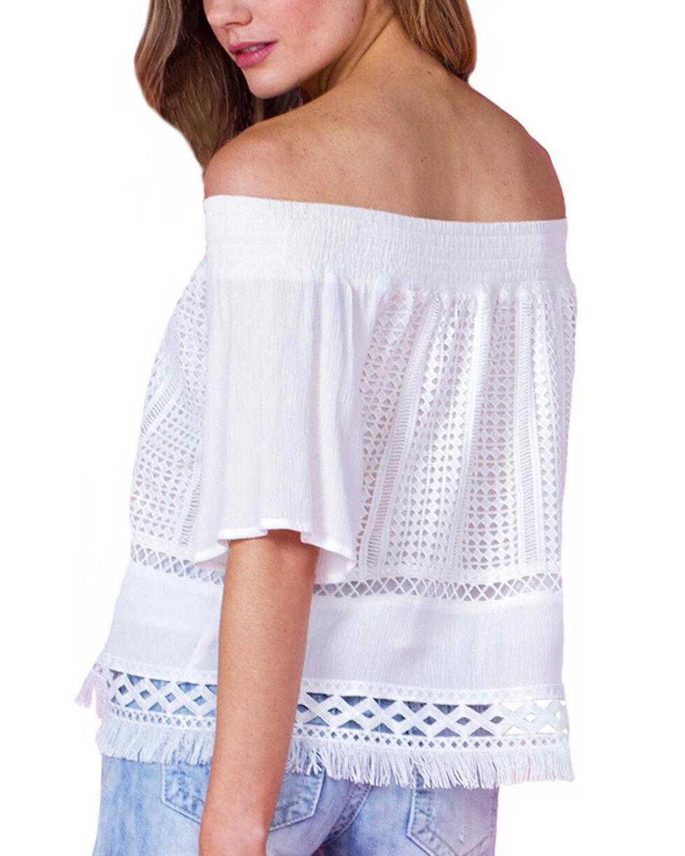 Miss Me Women's Ivory Crochet Off Shoulder Top , Ivory, hi-res