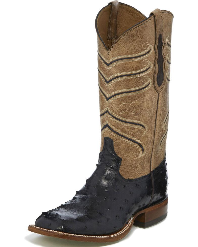 Tony Lama Men's Black Hermoso Full Quill Ostrich Cowboy Boots - Square Toe, Black, hi-res