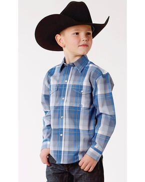 Roper Boys' Blue Large Plaid Western Shirt , Blue, hi-res