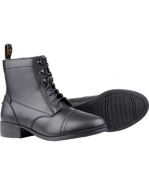 Dublin Kids' Foundation Laced Paddock Black Equestrian Boots, Black, hi-res