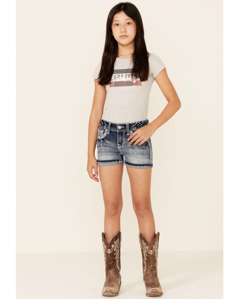 Grace In LA Girls' Medium Wash Scattered Aztec Pocket Denim Shorts , Blue, hi-res