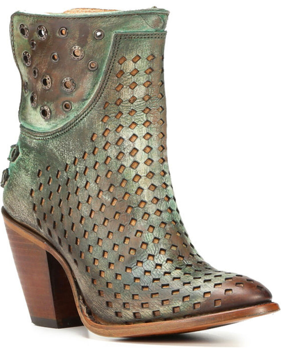 Corral Women's Light Brown Studded Short Boots - Round Toe , Lt Brown, hi-res