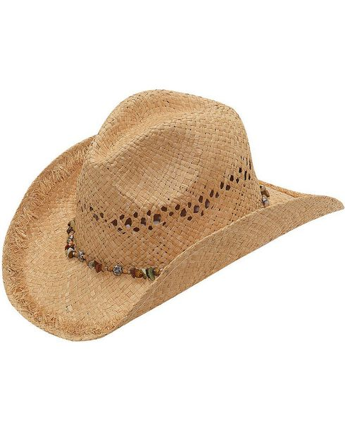 Blazin Roxx Beaded Hat Band Raffia Straw Cowgirl Hat, Natural, hi-res