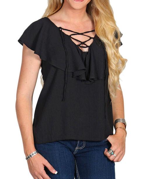 Derek Heart Women's Black Lace-Up Ruffle Blouse , Black, hi-res