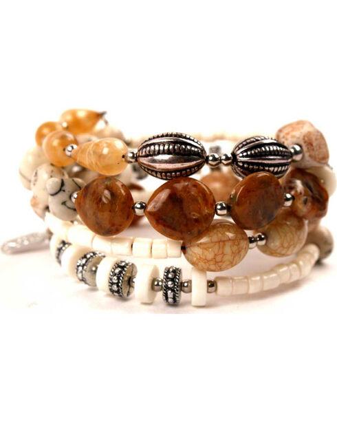 Treska Women's Tan 4 Row Coil Bracelet , Tan, hi-res