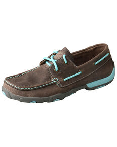 Twisted X Women's Driving Moccasin Shoes - Moc Toe, Grey, hi-res