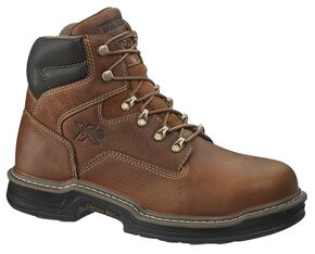 "Wolverine 6"" Raider Lace-Up Work Boots - Steel Toe, Brown, hi-res"