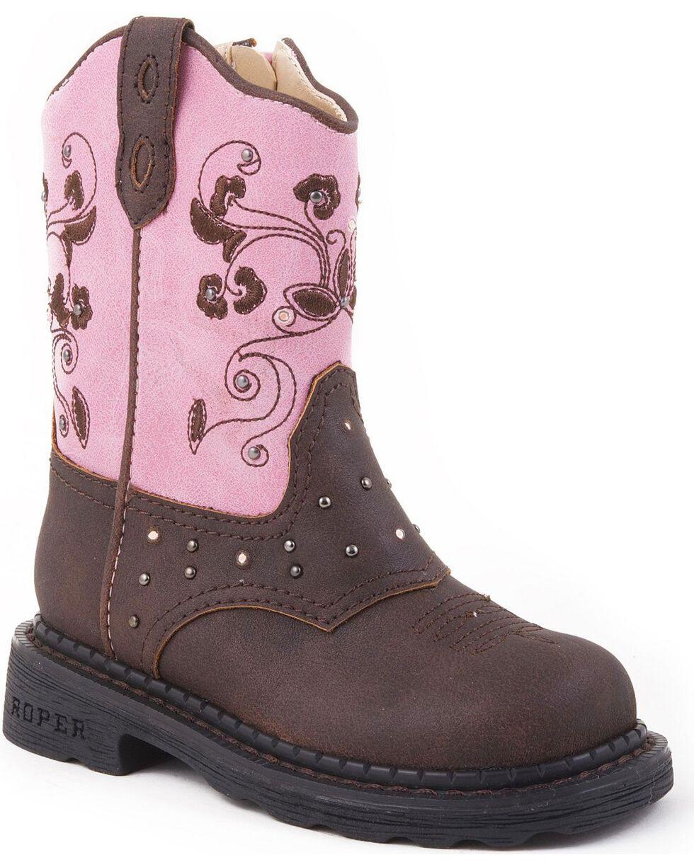 Roper Infant Girls' Light Up Western Boots, Brown, hi-res