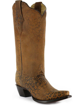 Corral Women's Distressed Leopard Print Boots - Snip Toe, Cheetah, hi-res