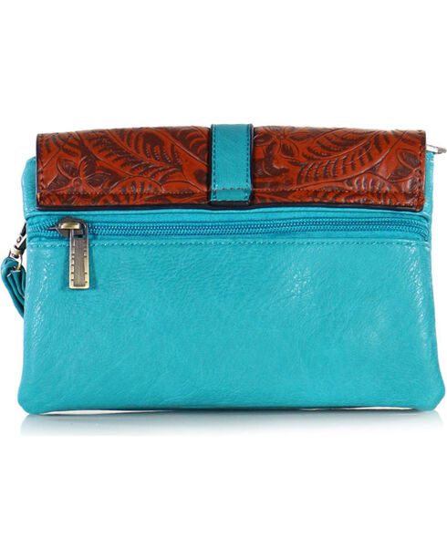 Tyler Rose Women's Turquoise & Brown Tooled Crossbody Bag, Turquoise, hi-res