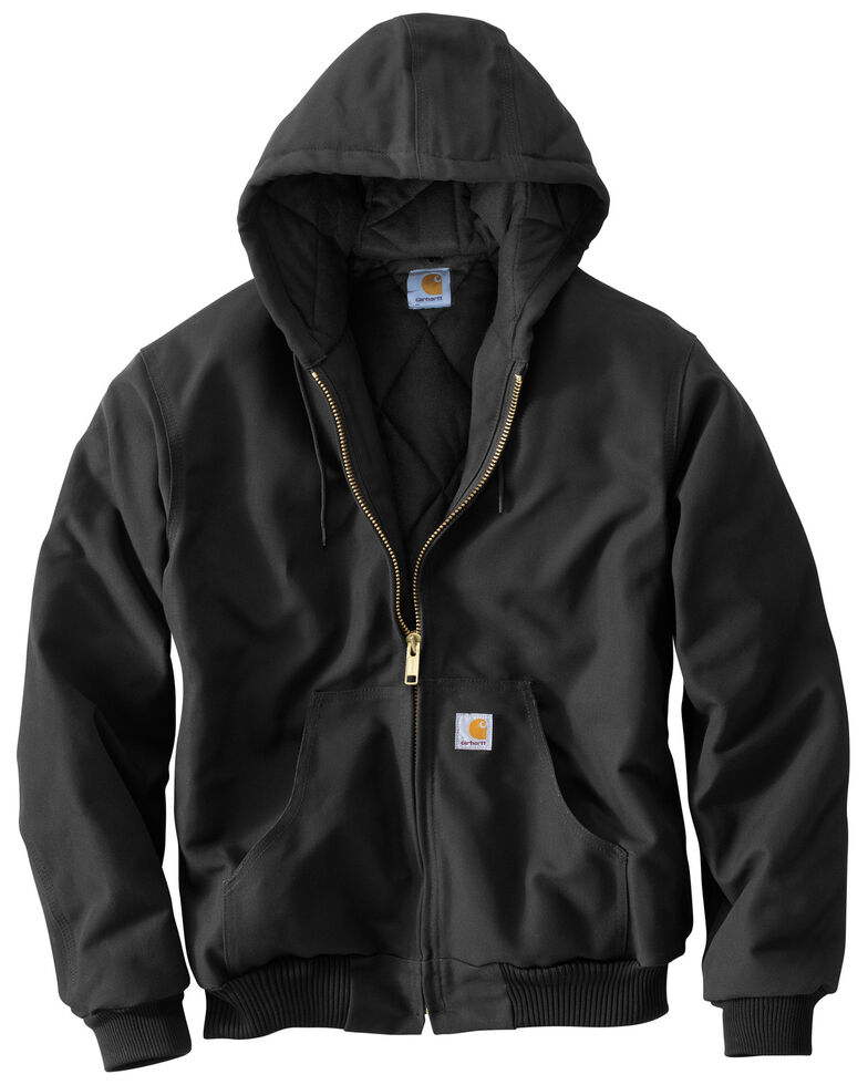 Carhartt Men's Quilted Flannel Lined Duck Active Work Jacket, Black, hi-res