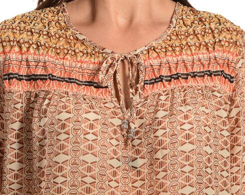 Red Ranch Women's Tan Bohemian Print Tie Blouse, Multi, hi-res