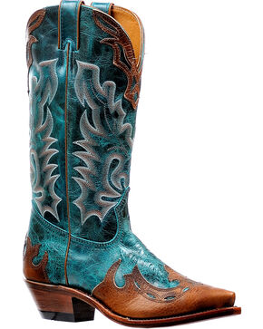 Boulet Women's Faraon Turqueza Overlay Cowgirl Boots - Snip Toe, Brown, hi-res