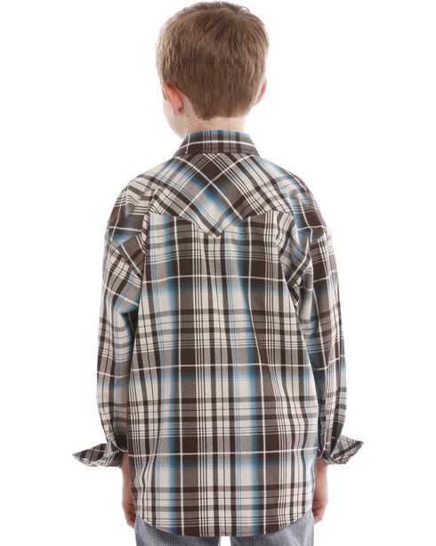 Rock & Roll Cowboy Boys' Turquoise Plaid Snap Shirt , Turquoise, hi-res