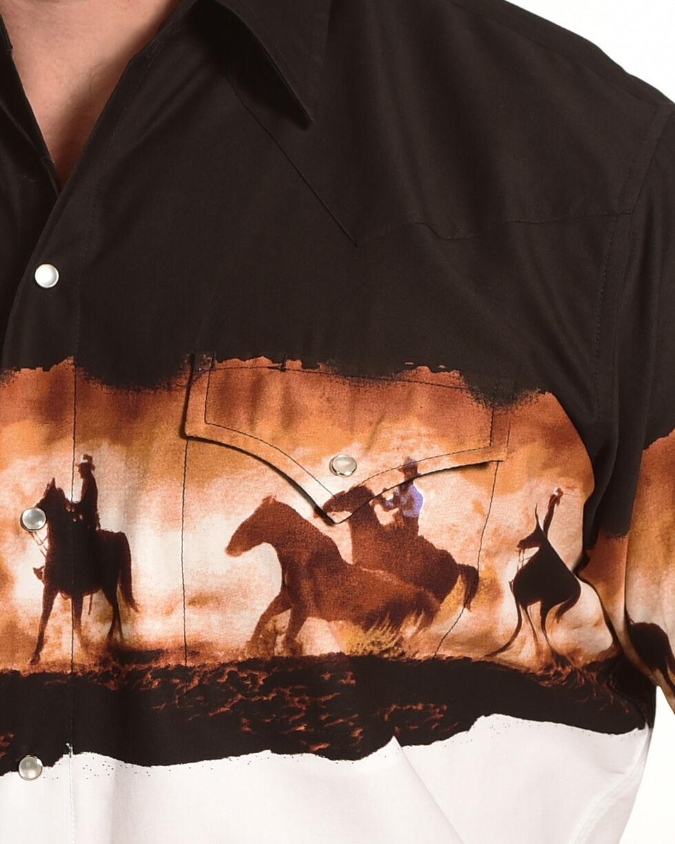 Ely Cattleman Men's Horse Border Print Shirt , Black, hi-res