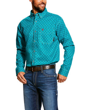 Ariat Men's Bluebird Jerico Geo Print Long Sleeve Work Shirt , Blue, hi-res