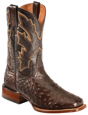 Dan Post Tobacco Brown Quilled Ostrich Cowboy Boots - Square Toe , Tobacco, hi-res