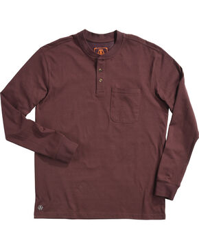American Worker Men's Burgundy Mason Pocket Henley Shirt , Burgundy, hi-res