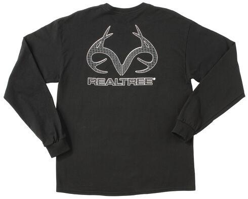 Realtree Men's Black Carbon Fiber Logo Long Sleeve T-Shirt , Black, hi-res