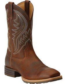 Ariat Hybrid Rancher Cowboy Boots - Square Toe, Brown, hi-res