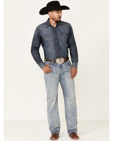 Rock & Roll Denim Men's Light Vintage Double Barrel Stretch Relaxed Straight Jeans , Blue, hi-res