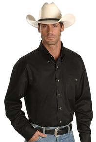 George Strait by Wrangler Men's Black Solid Long Sleeve Western Shirt, Black, hi-res