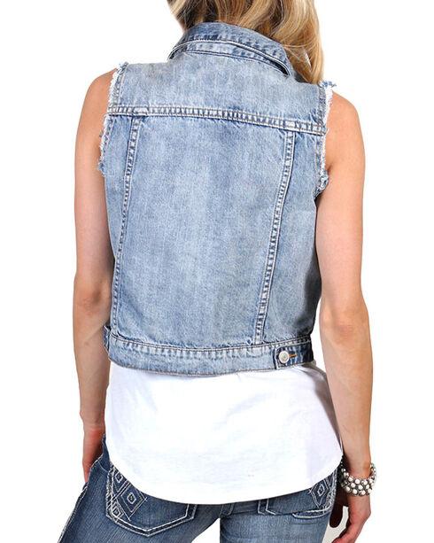 Shyanne Women's Denim Vest, Blue, hi-res