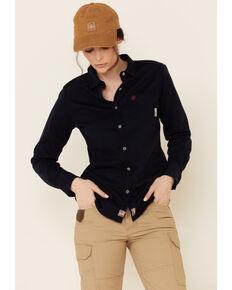 Ariat Women's Navy FR Taylor Knit Long Sleeve Work Shirt , Navy, hi-res