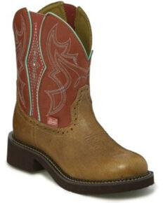 Justin Women's Gemma Side Gore Western Boots - Round Toe, Brown, hi-res