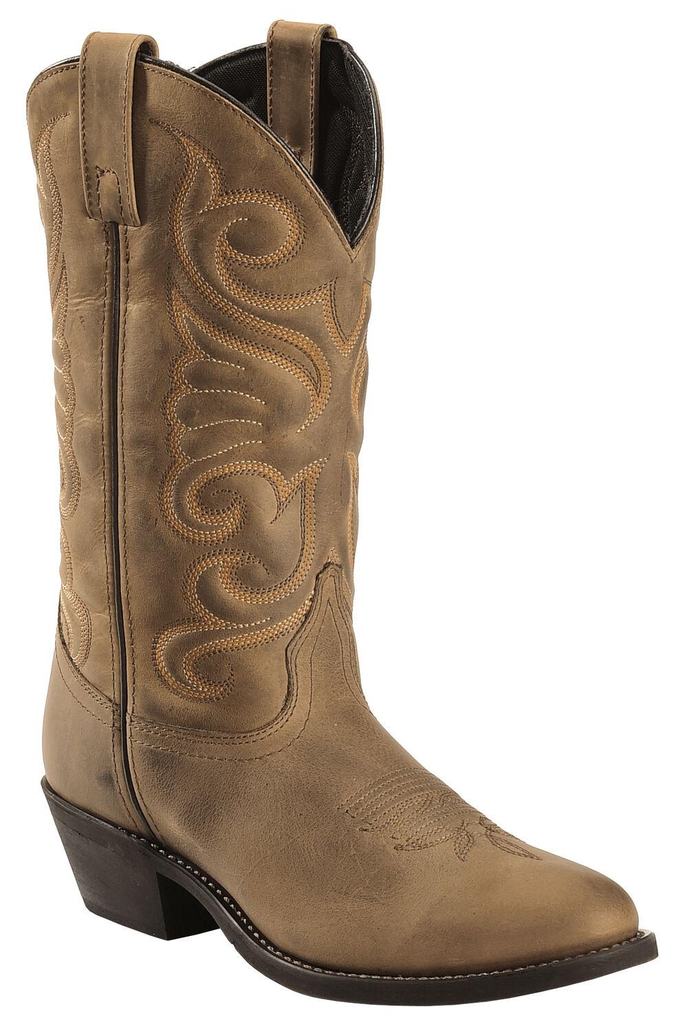 Laredo Bridget Cowgirl Boots - Round Toe, Tan, hi-res