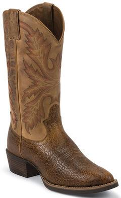 Justin Silver Buffalo Cowboy Boots - Round Toe, Tan, hi-res