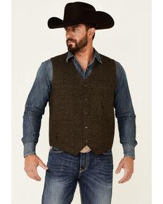 Moonshine Spirit Men's Brown Mohair Button-Front Wool Vest , Brown, hi-res