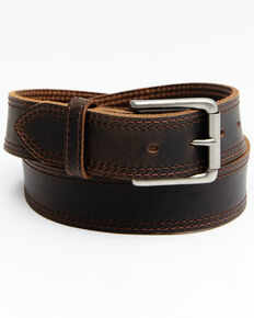 Hawx Men's Pointed Double Stitch Work Belt, Brown, hi-res