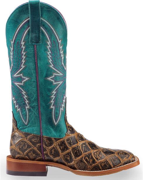 Macie Bean Women's Brown Filet of Fish Print Boots - Square Toe , Brown, hi-res