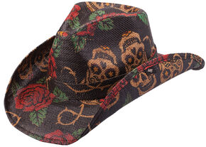 Peter Grimm Tainted Love Straw Cowboy Hat, Tea, hi-res
