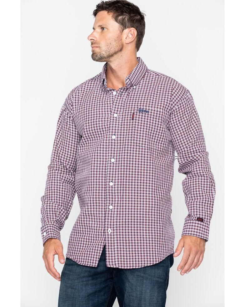 Cinch WRX Men's FR Plaid Long Sleeve Work Shirt , Burgundy, hi-res