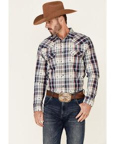 Cody James Men's Bull Dobby Plaid Long Sleeve Snap Western Shirt , Navy, hi-res