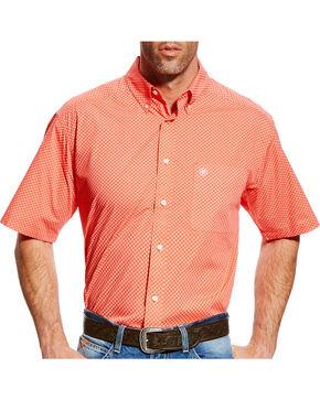 Ariat Men's Fanning Print Short Sleeve Shirt - Big & Tall, Coral, hi-res
