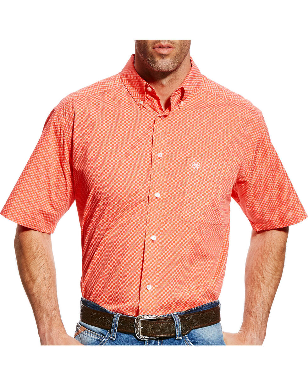 Ariat Men's Fanning Print Short Sleeve Shirt - Big & Tall, Coral, hi-res