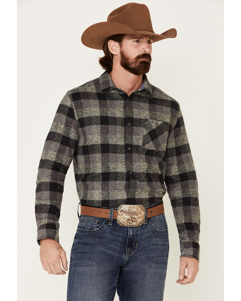 Flag & Anthem Men's Bayville Stretch Plaid Long Sleeve Western Flannel Shirt , Black, hi-res