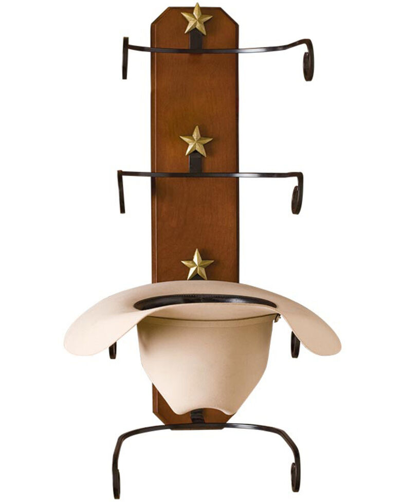 BB Ranch Birch Wood Cowboy Hat Rack, Brown, hi-res