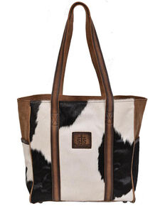 STS Ranchwear Women's Heritage Cowhide Tote Bag, Distressed Brown, hi-res