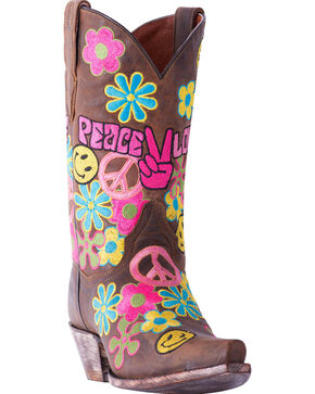 Dan Post Women's Peace & Love Cowgirl Boots - Snip Toe, Brown, hi-res