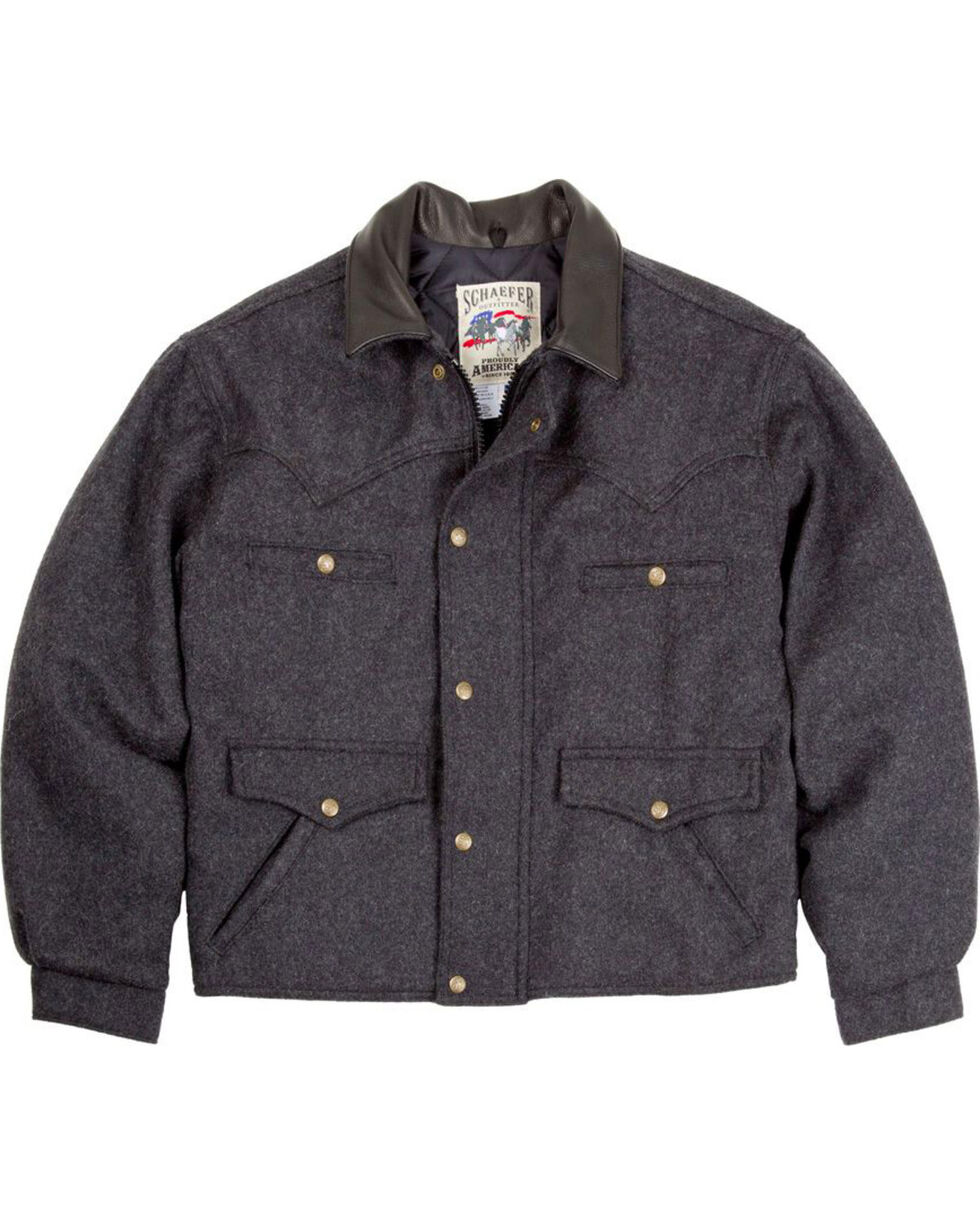 Schaefer Outfitter Men's Dark Charcoal Melton Wool Summit Jacket , Charcoal, hi-res