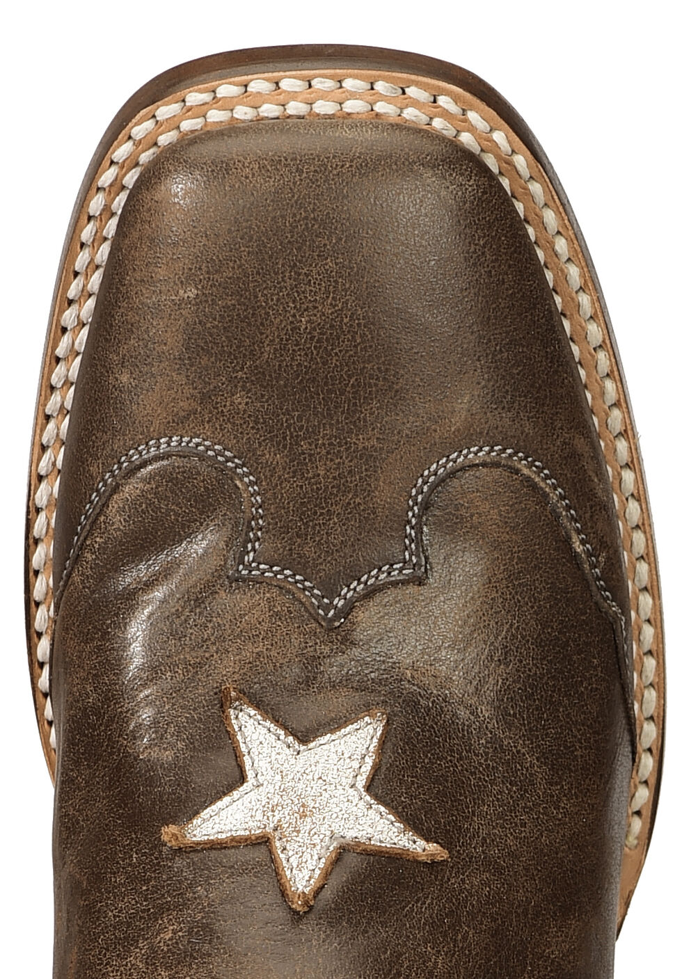 Roper Distressed Texas Flag Cowgirl Boots - Square Toe, Brown, hi-res